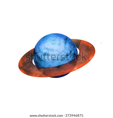 Colorful watercolor hand drawn planet. Space planet isolated on a white background. Vibrant colored planet. - stock photo