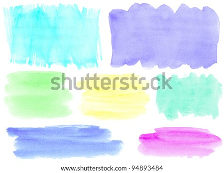 Colorful watercolor hand painted brush strokes. Isolated on white background.