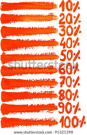 Colorful watercolor hand painted brush strokes with numbers and percent are isolated on a white background.
