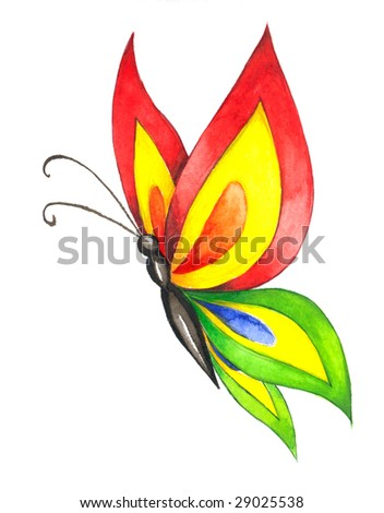 Colorful watercolor illustration of butterfly in flight, isolated on white background.