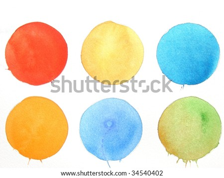 colorful watercolor paint circle background - stock photo