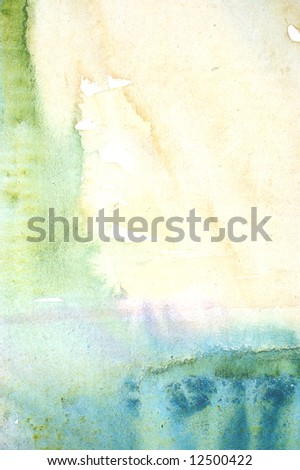 Colorful watercolor painted background with blue green and yellow layers - stock photo