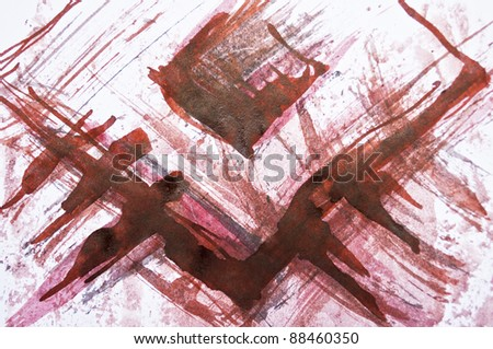 Colorful watercolor painted background with red lines - stock photo