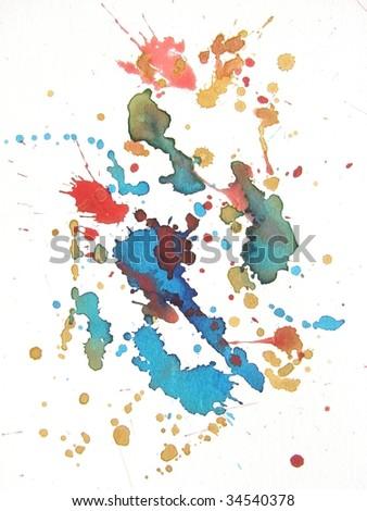 colorful watercolor splash background - stock photo