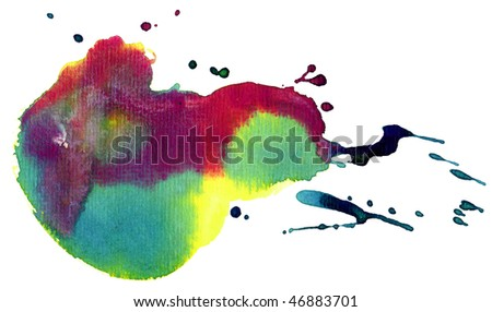 colorful watercolor stain (isolated) - stock photo