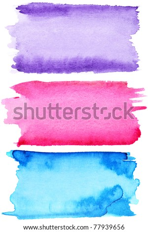 Colorful watercolor strokes - space for your own text - stock photo