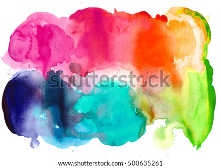 Colorful watercolor texture. Isolated on white background. Magenta, red, orange, blue.