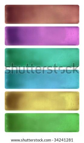 colorful watercolor textured banner set isolated with clipping path - stock photo