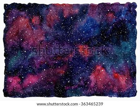 Colorful watercolor universe or night sky with stars. Beautiful cosmic rectangle background with rough, uneven edges. Black, emerald, pink, violet and blue watercolour stains. - stock photo