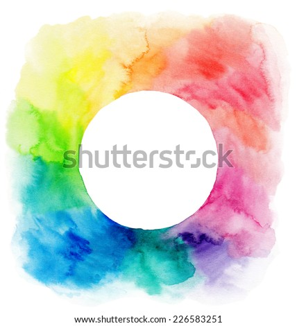 Colorful watercolor wreath. Frame with copyspace for your text. Watercolor background with empty circle frame. - stock photo