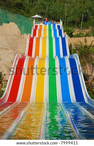 colorful waterslide in Vinpearl water park, Nhatrang - Vietnam
