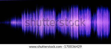 colorful waveform isolated on black, purple - stock photo