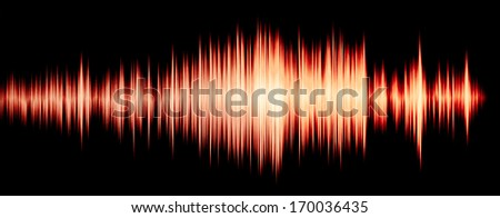 colorful waveform isolated on black, yellow - stock photo