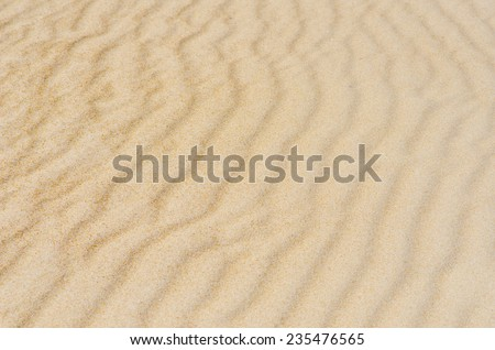 Colorful wavy and rippled lines and curves on sandy remote desert or beach dune, natural design backdrop, background or wallpaper. - stock photo