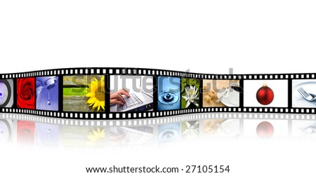 colorful wavy film strip with reflection (all pics from my portfolio) - stock photo