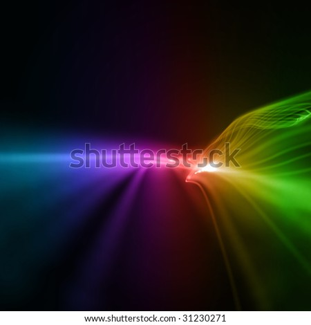 colorful wavy smooth neon background in perspective - stock photo