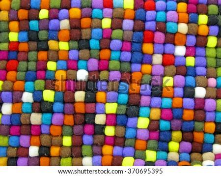 colorful weave turkish silk carpet closeup, fabric textile diversity - stock photo