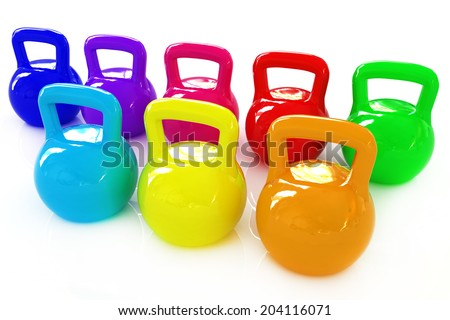 Colorful weights on a white background