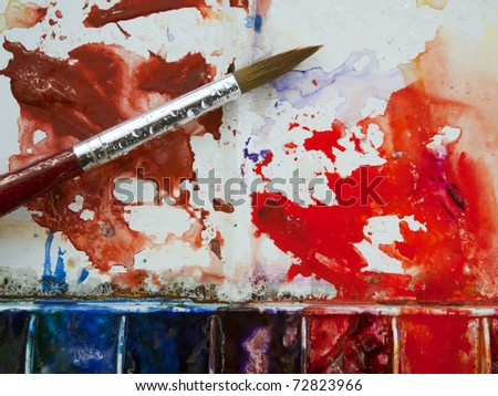 Colorful well used artists watercolor paintbox palette - stock photo