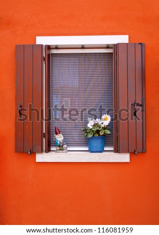 Colorful window of Burano, Italy - stock photo