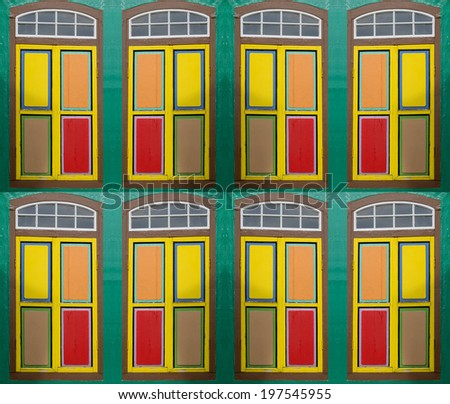 colorful windows and doors - stock photo