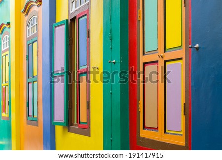 colorful windows and doors from singapore - stock photo