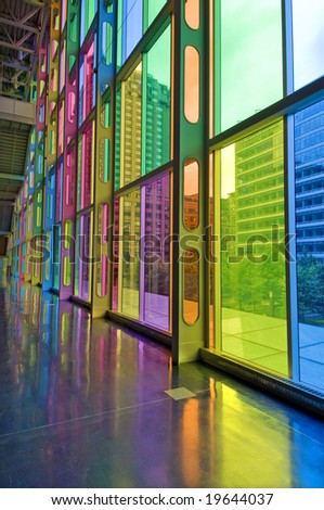 Colorful Windows and Reflection - stock photo