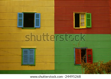 colorful windows and shutters in La Boca, Buenos Aires, Argentina - stock photo