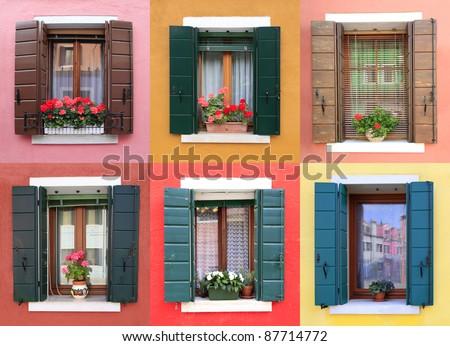 Colorful windows in Burano, near Venice, Italy - stock photo