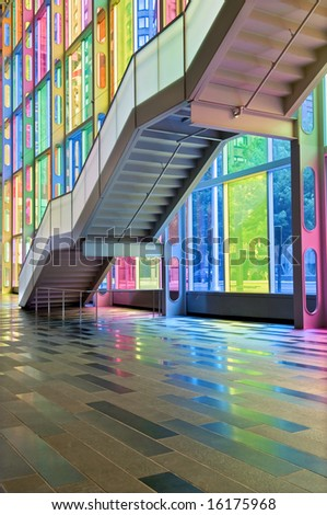 Colorful windows, Reflection and Stairs - stock photo