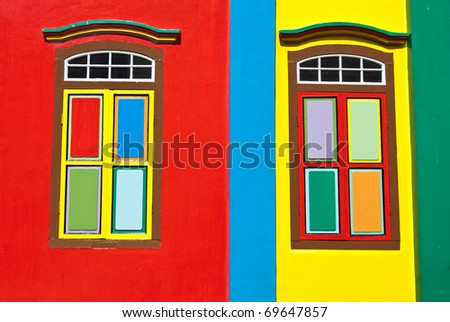 Colorful windows, streets of Singapore - stock photo