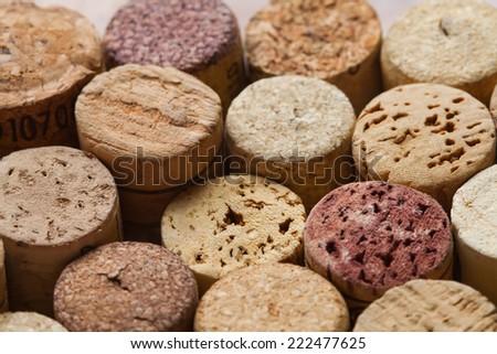 Colorful wine corks. Macro view. Closeup. Texture. - stock photo