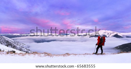 colorful winter landscape in the Carpathian mountains - stock photo