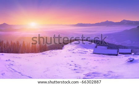 colorful winter sunrise in the Carpathian mountains - stock photo
