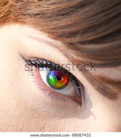Colorful woman eye close-up - stock photo
