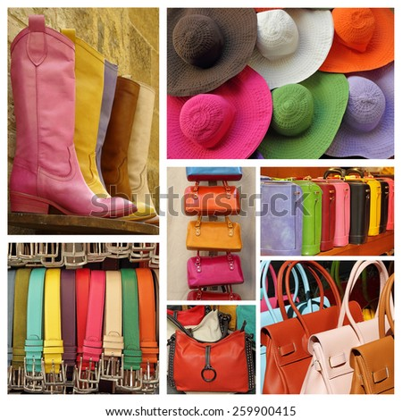 colorful women accessories collage - stock photo