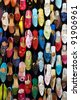 Colorful women shoes on a market stall in Morocco - stock photo