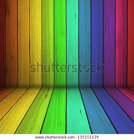 Colorful wood floor and wall in empty room