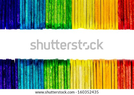 colorful wood ice-cream stick isolated on white background.