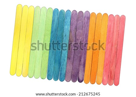 colorful wood ice-cream stick. on white background