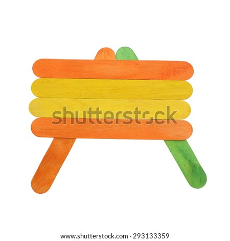 Colorful wood ice lolly sticks, Ice cream sticks, isolated on white background