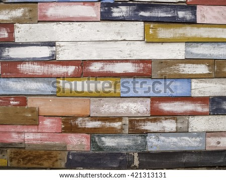Colorful wood material wallpaper for background.