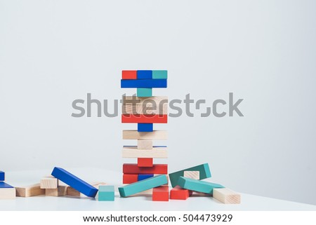 Colorful wood pieces game