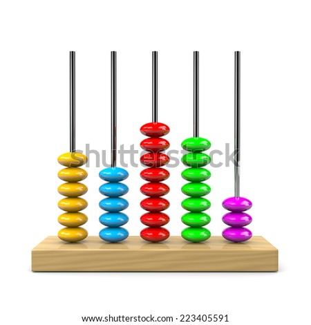 Colorful Wooden Abacus Illustration on White Background - stock photo
