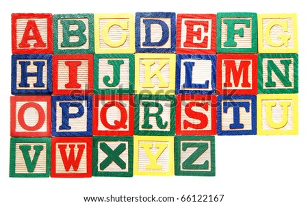 colorful wooden alphabet blocks, isolated on white - stock photo