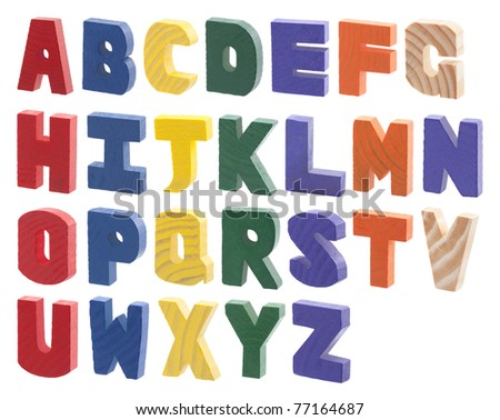 Colorful wooden alphabet isolated on white