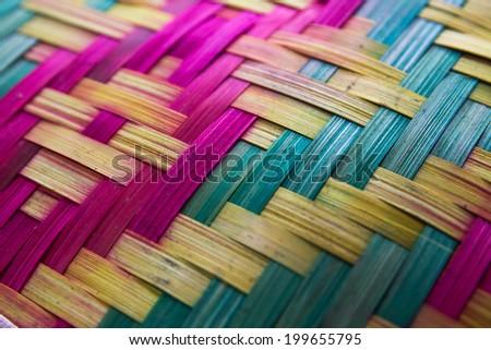 Colorful wooden Basketwork Handicraft pattern - stock photo