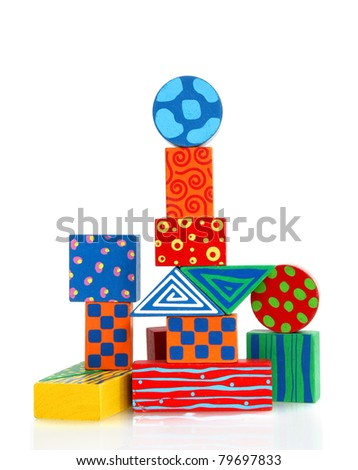 colorful wooden block building - fanciful structure - stock photo