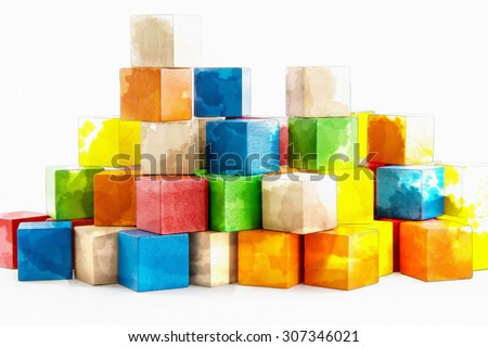 Colorful wooden blocks Arranged by the imagination.with watercolor techniques. - stock photo
