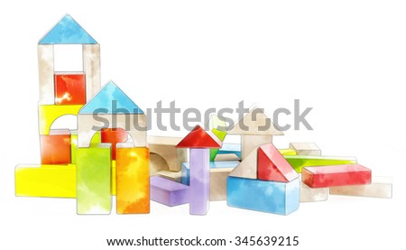 Colorful wooden blocks Arranged by the imagination with watercolor techniques. - stock photo